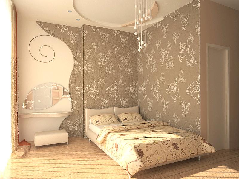 текстильные обои в спальне