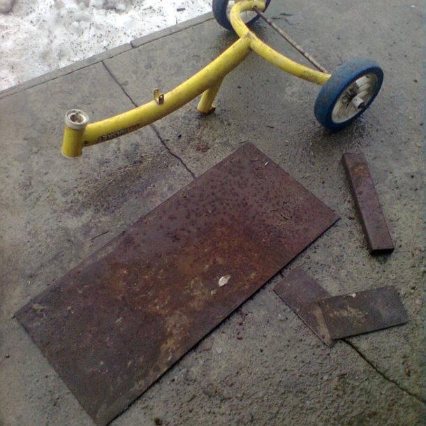 Изготовление колёсной базы для скребка снегоочистки