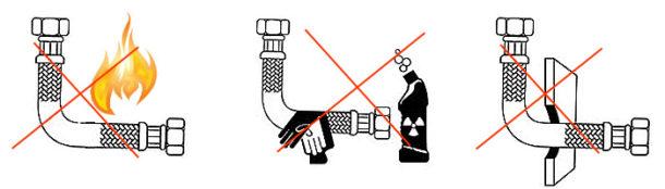 Ограничения на использование шлангов гибкой подводки воды