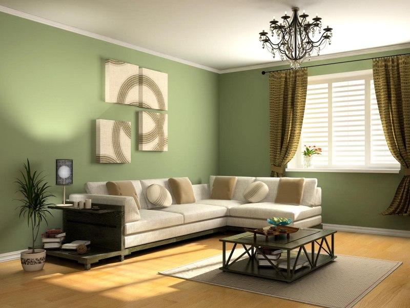 зеленые обои для гостиной