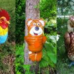 животные  из пластиковых бутылок на дачу