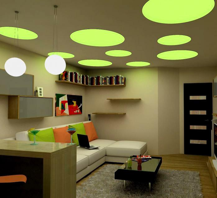 зонирование гостиной освещением