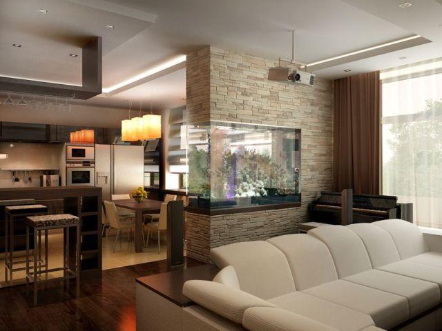 зонирование кухни авквариум