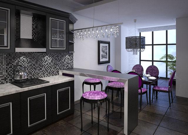 зонирование кухни барная стойка 2