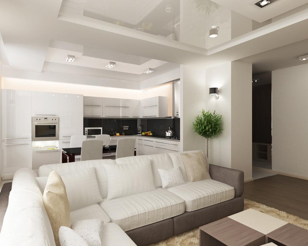 зонирование кухни диваном