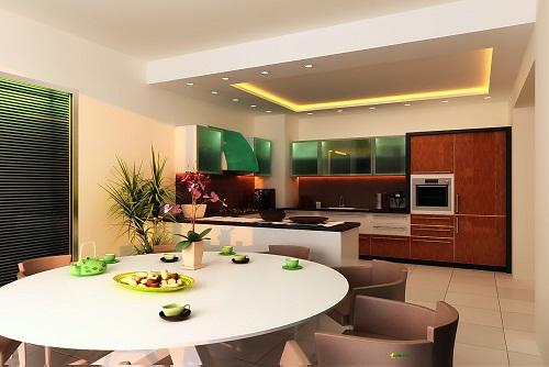 зонирование кухни освещение 3