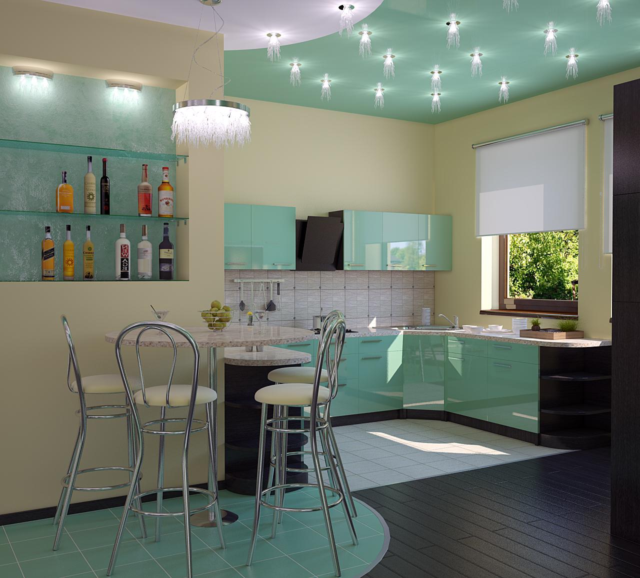 зонирование кухни освещение 4