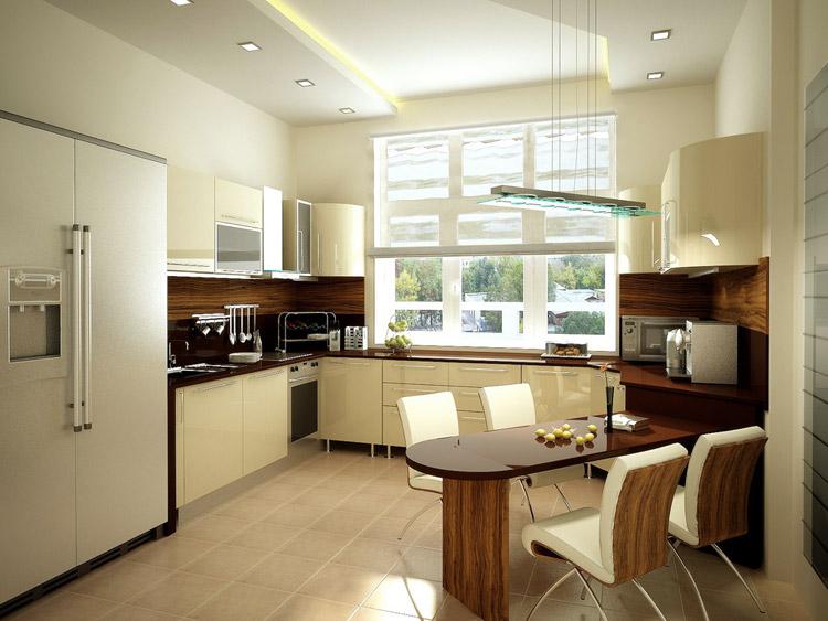 зонирование кухни освещение 5