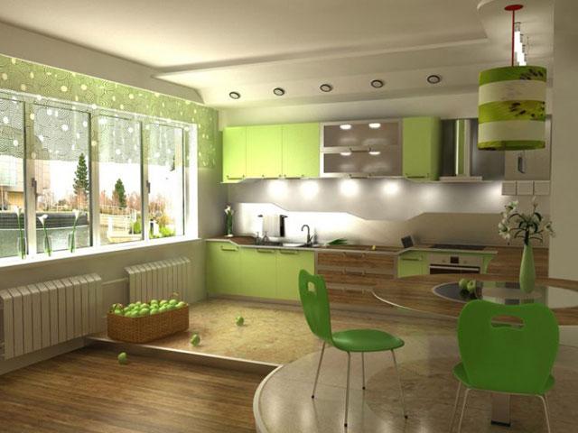 зонирование кухни подиум